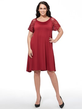Ericdress Lace Patchwork A-Line Round Neck Casual Dress