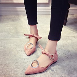 Ericdress Point Toe Lace-Up Suede Sequins Flat Sandals