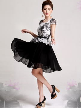 Ericdress Floral Print Patchwork Double-Layer Square Neck Casual Dress