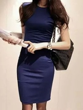 Ericdress Solid Color Round Neck Korean Style Sheath Dress