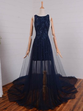 Ericdress A Line Lace Applique Beaded Scoop Neck Cathedral Train Evening Dress