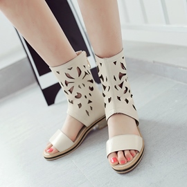 Ericdress PU Hollow Back-Zip Flat Sandals