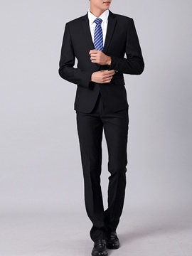 Ericdress Plain Casual Black Men's Suit