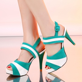 Ericdress Peep Toe Buckle Stripe Awl Heel Sandals