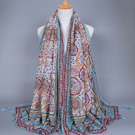 Light Green Small Floral Voile Scarf
