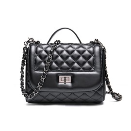 Ericdress Black Grained Lambskin Crossbody Bag