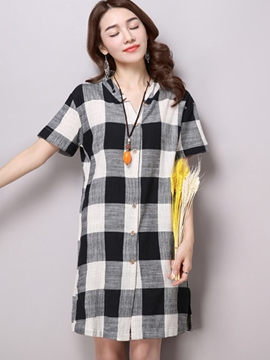 Ericdress Loose Casual Plaid Blouse