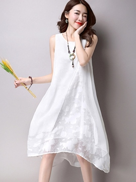 Ericdress Soild Color Lace Patchwork Casual Dress