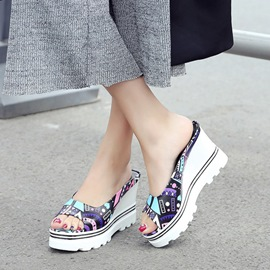 Ericdress Special Print Wedge Mules Shoes