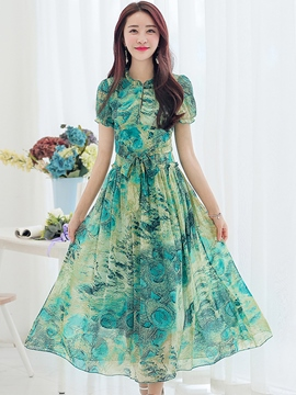 Ericdress Floral Print Short Sleeve Lace-Up Maxi Dress