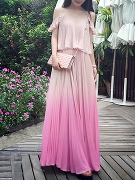 Ericdress Gradient Pleated Cold Color Floor-Length Maxi Dress