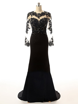 Ericdress Jewel Trumpet Long Sleeves Appliques Beading Court Train Evening Dress