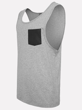 Ericdress PU Pocket Patchwok Casual Men's Vest
