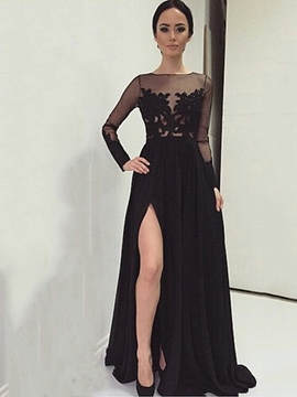 Ericdress A-Line Bateau Long Sleeves Appliques Split-Front Evening Dress