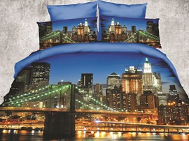 Ericdress Gorgeous Urban Night View Print 3D Bedding Sets