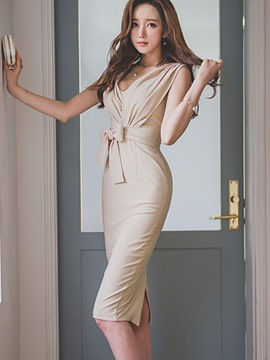 Ericdress Ladylike Bowknot Sheath Dress