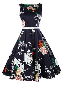 Ericdress Vintage Expansion Print Skater Casual Dress