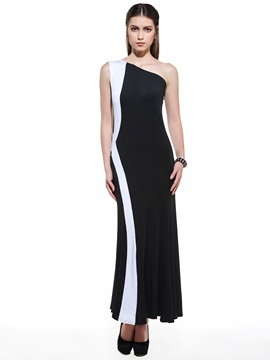 Ericdress Color Block Oblique Shoulder Maxi Dress