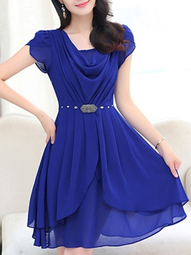 Ericdress Solid Color Double Layer Casual Dress
