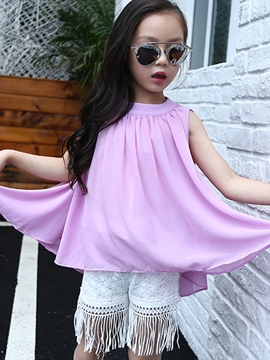 Ericdress Solid Color Girls Top