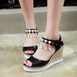 Ericdress Lovely Pearl Tassels Peep Toe Wedge Sandals