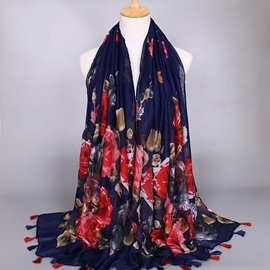 Bright Red Flowers Dark Blue Voile Scarf