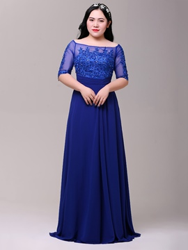 Ericdress Plus Size A-Line Off-the-Shoulder Half Sleeves Beading Lace Sweep Train Evening Dress