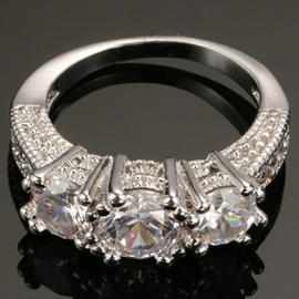 Platinum Plating Zircon Creative Ring