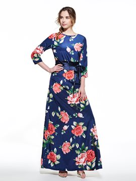 Ericdress Floral Print Belt Maxi Dress