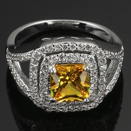 Platinum Plated with Yellow Zircon Ring