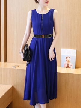 Ericdress Solid Color Patchwork Zipper Maxi Dress