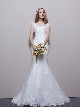 Ericdress Charming Bateau Beaded Mermaid Bridal Gown