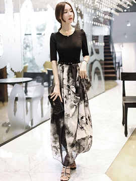 Ericdress Ink Print Patchwork Maxi Dress