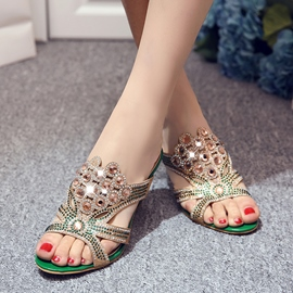 Ericdress Glittering Rhinestone Chunky Mules Shoes