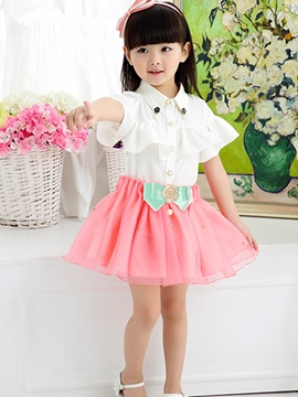 Ericdress Falbala Bowknot Appliques Mesh Girls Outfits