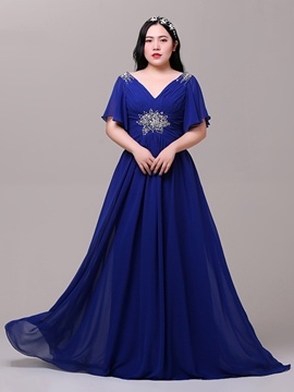 Ericdress Plus Size A-Line V-Neck Cap Sleeves Beading Pleats Sequins Brush Train Evening Dress