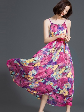 Ericdress Spaghetti Strap Flower Print Maxi Dress