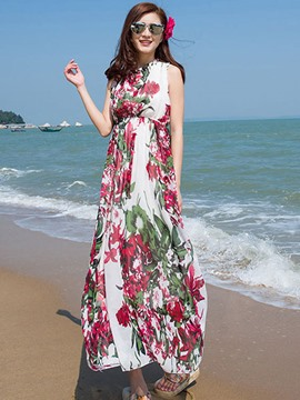 Ericdress Floral Print Sleeveless Beach Maxi Dress