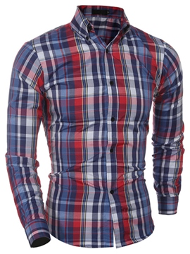 Ericdress Color Block Plaid Slim Casual Men's Shirt