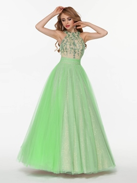 Ericdress A-Line Halter Beading Bowknot Floor-Length Prom Dress