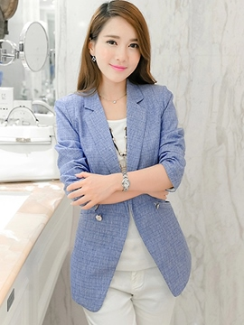 Ericdress Solid Color Polo Button Slim Blazer