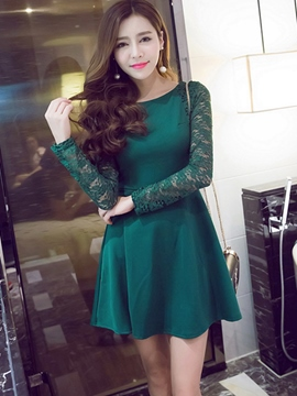 Ericdress Long Sleeve Lace Patchwork Casual Dress