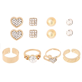 Love Alloy Covered Eight-Piece Jewelry Set