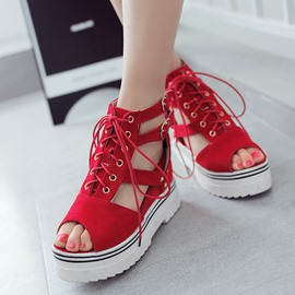 Ericdress Peep Toe Lace-Up Wedge Sandals