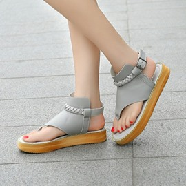 Ericdress Thong Buckle Platform Plain Flat Sandals