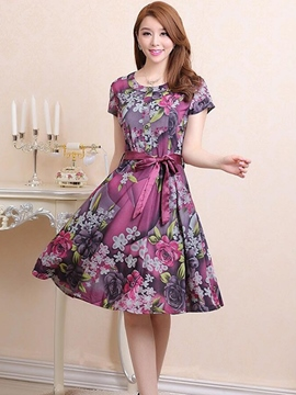Ericdress Short Sleeve Print Lace-Up Casual Dress