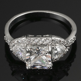 Square AAA Zircon Plating Platinum Ring