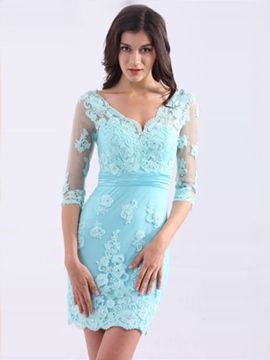 Ericdress Sheath High Neck Appliques Beading Lace Short Cocktail Dress