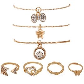 Multiple Design Gold Covered Seven-Piece Jewelry Set