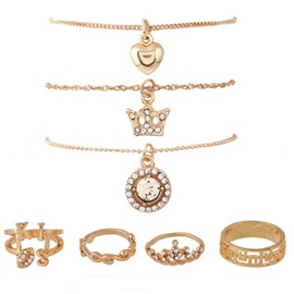 Crown Gold Seven-Piece Jewelry Set